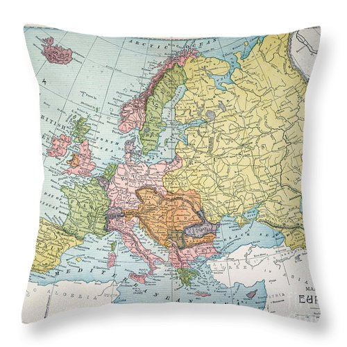 1885 Throw Pillow featuring the painting Map: Europe, 1885 by Granger