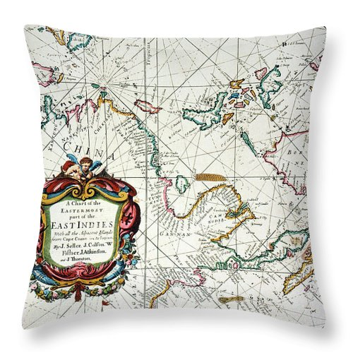 1670 Throw Pillow featuring the painting East Indies Map, 1670 by Granger