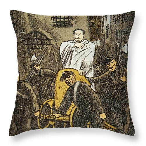 1925 Throw Pillow featuring the painting Benito Mussolini Cartoon by Granger