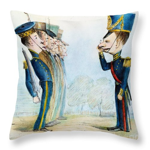 1846 Throw Pillow featuring the painting Cartoon: Mexican War, 1846 by Granger
