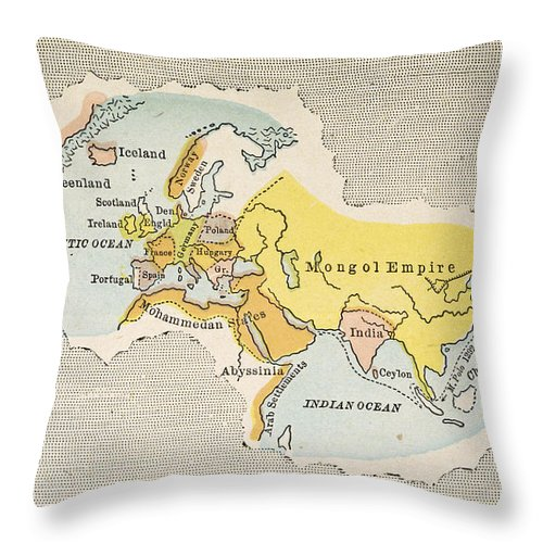 1300 Throw Pillow featuring the painting World Map, C1300 by Granger
