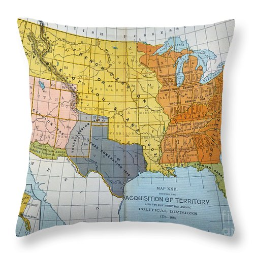 1776 Throw Pillow featuring the painting U.s. Map, 1776/1884 by Granger