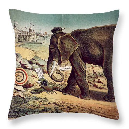 1885 Throw Pillow featuring the painting Office Seekers 1885 by Granger