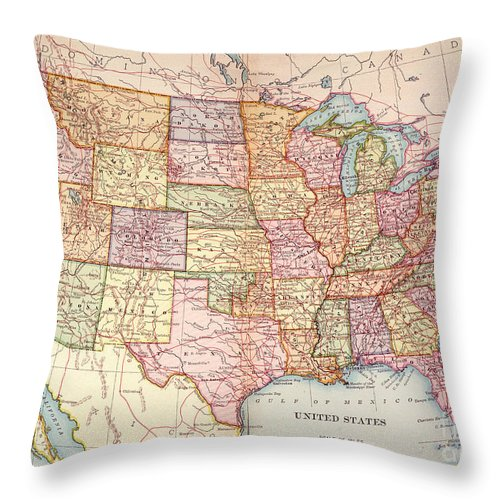 1905 Throw Pillow featuring the painting Map: United States, 1905 by Granger