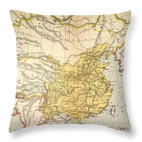 1910 Throw Pillow featuring the painting Map: China, 1910 by Granger