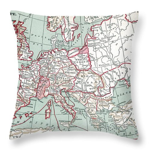 12th Century Throw Pillow featuring the painting Map Of Europe, 12th Century by Granger