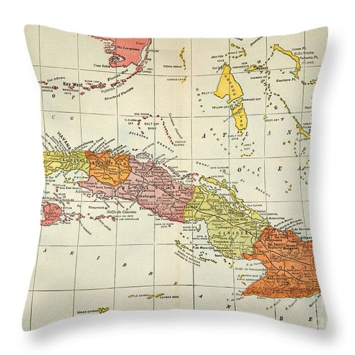1900 Throw Pillow featuring the painting Map: Cuba, 1900 by Granger