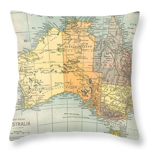 1890 Throw Pillow featuring the painting Map: Australia, C1890 by Granger