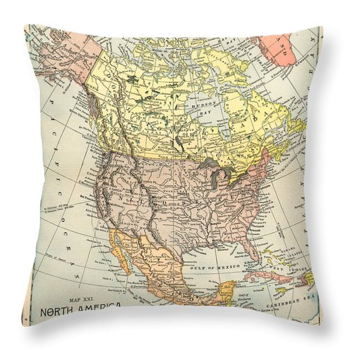 1890 Throw Pillow featuring the painting Map: North America, 1890 by Granger