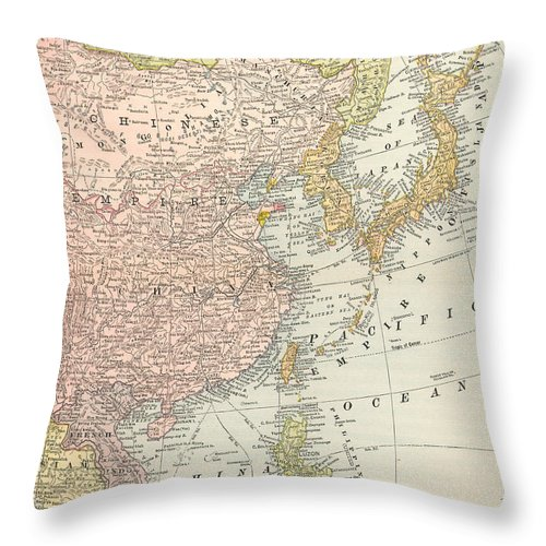 1907 Throw Pillow featuring the painting Map: East Asia, 1907 by Granger