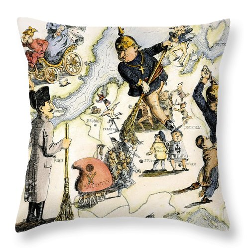 1848 Throw Pillow featuring the painting Europe: 1848 Uprisings by Granger