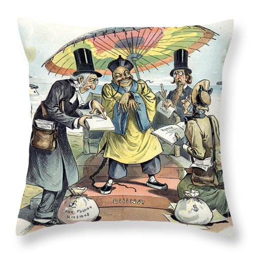 1895 Throw Pillow featuring the painting Missionary Cartoon, 1895 by Granger