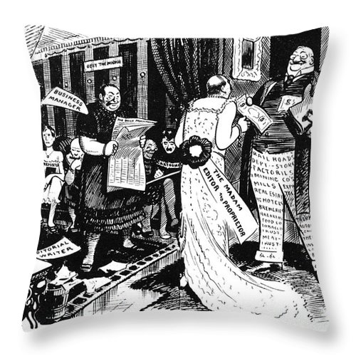 1912 Throw Pillow featuring the painting Press Cartoon, 1912 by Granger