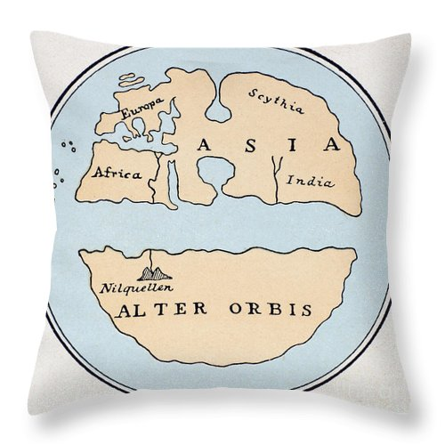 1st Century Throw Pillow featuring the painting World Map, 1st Century by Granger