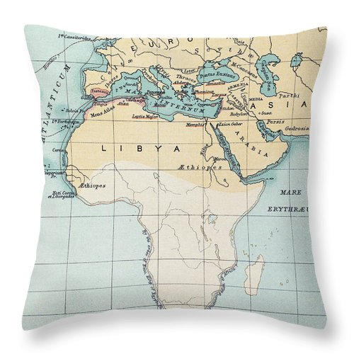 1st Millennium Bc Throw Pillow featuring the painting Map: Phoenician Empire by Granger