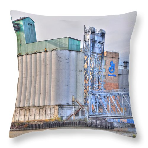Throw Pillow featuring the photograph 01 General Mills by Michael Frank Jr