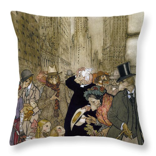 1924 Throw Pillow featuring the painting Rackham: City, 1924 by Granger