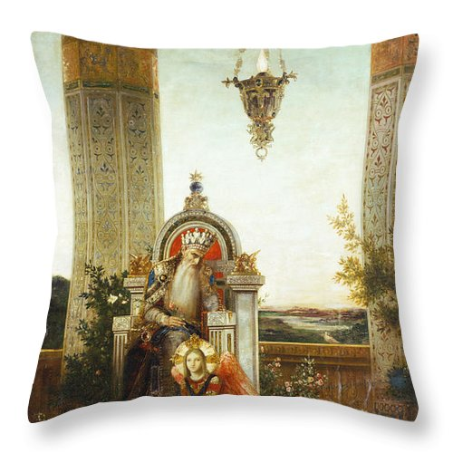 19th Century Throw Pillow featuring the painting Moreau: King David by Granger