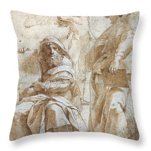 1510 Throw Pillow featuring the painting Raphael: Study, C1510 by Granger