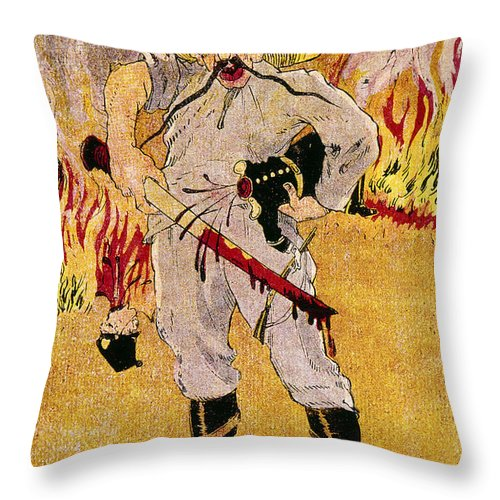 1910s Throw Pillow featuring the painting Mexico: Political Cartoon by Granger