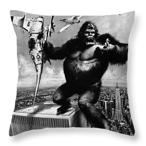 1975 Throw Pillow featuring the painting King Kong, 1976 by Granger