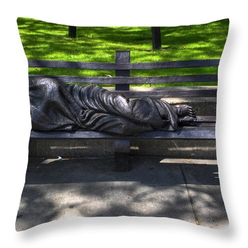 Michael Frank Jr Throw Pillow featuring the photograph 02 Homeless Jesus By Timothy P Schmalz by Michael Frank Jr