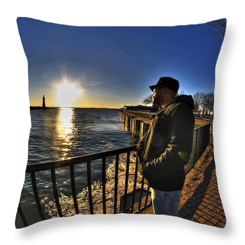 Buffalo Throw Pillow featuring the photograph 02 Me Sunset 16mar16 by Michael Frank Jr