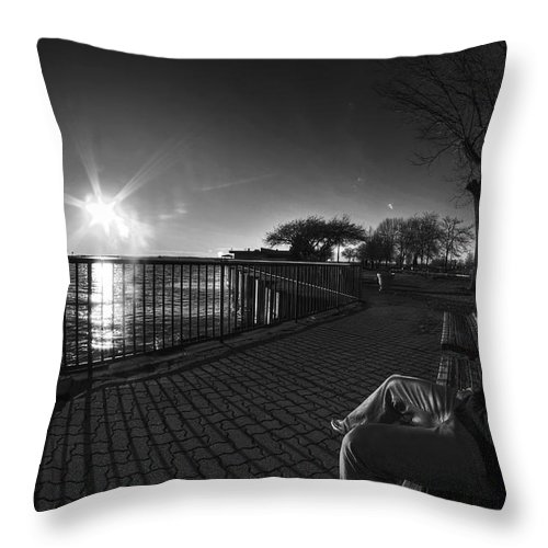 Buffalo Throw Pillow featuring the photograph 04 Me Sunset 16mar16 Bw by Michael Frank Jr