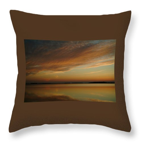 Sunset Throw Pillow featuring the photograph 060309-59  Reflections II by Mike Davis