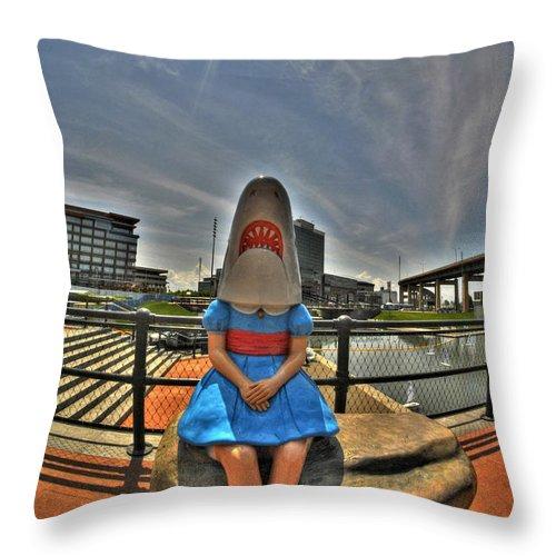 Michael Frank Jr Throw Pillow featuring the photograph 07 Shark Girl by Michael Frank Jr