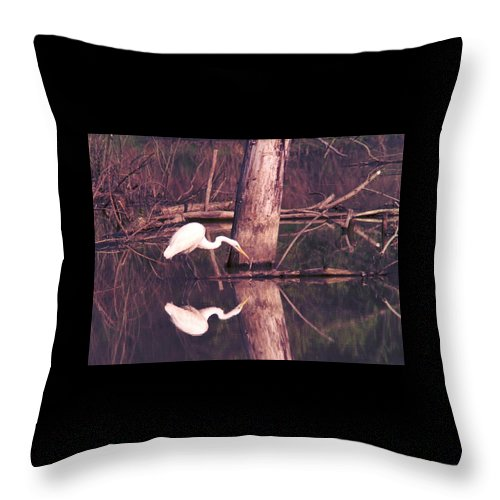 Great Egret Throw Pillow featuring the photograph 070406-17 by Mike Davis