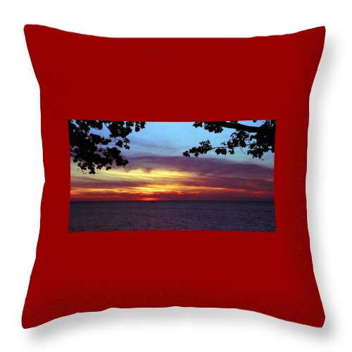 Sunset Throw Pillow featuring the photograph 070506-68 by Mike Davis
