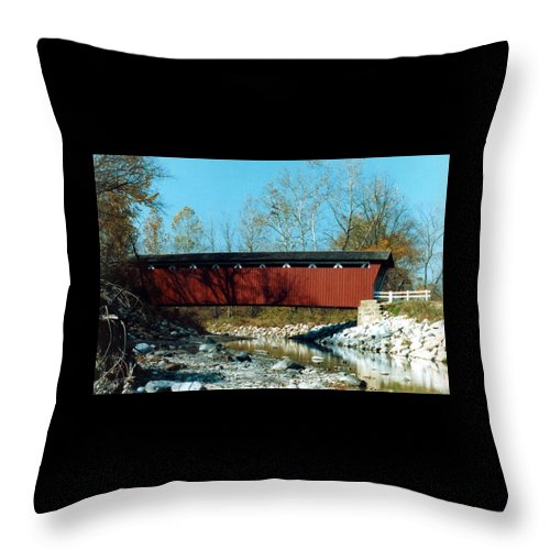 Bridge Throw Pillow featuring the photograph 072106-31 by Mike Davis