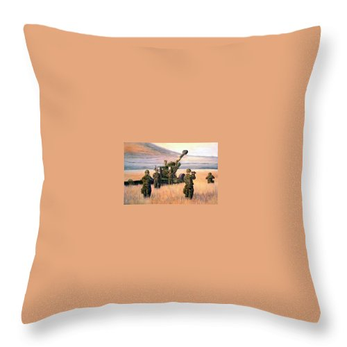 Signed And Numbered Prints Of The Montana National Guard Throw Pillow featuring the print 1-190th Artillery by Scott Robertson