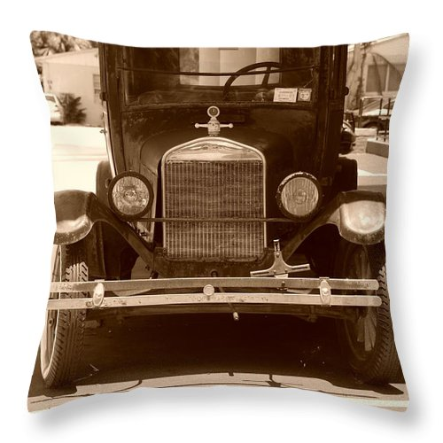 Sepia Throw Pillow featuring the photograph 1926 Model T by Rob Hans