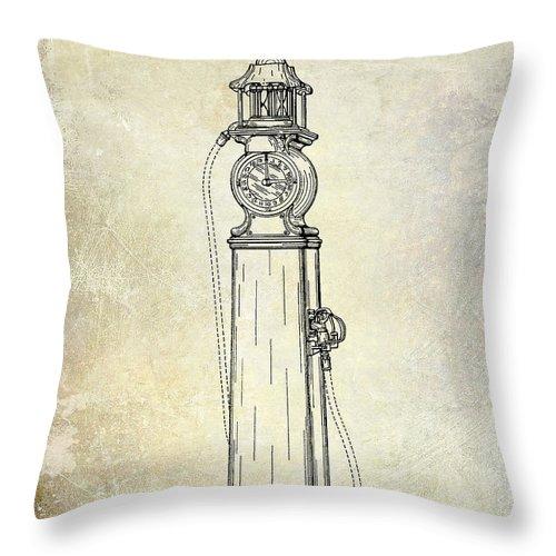 Gas Pump Patent Throw Pillow featuring the photograph 1930 Gas Pump Patent by Jon Neidert