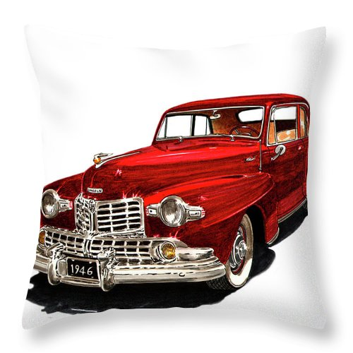 Framed Prints Of Lincoln Continentals. Framed Canvas Prints Of Art Of Famous Lincoln Cars. Framed Prints Of Lincoln Car Art. Framed Canvas Prints Of Great American Classic Cars Throw Pillow featuring the painting 1946 Lincoln Continental Mk I by Jack Pumphrey