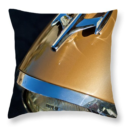 1957 Oldsmobile Super 88 Throw Pillow featuring the photograph 1957 Oldsmobile Super 88 Hood Ornament by Jill Reger