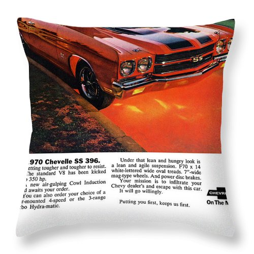 1970 Throw Pillow featuring the digital art 1970 Chevrolet Chevelle Ss 396 by Digital Repro Depot