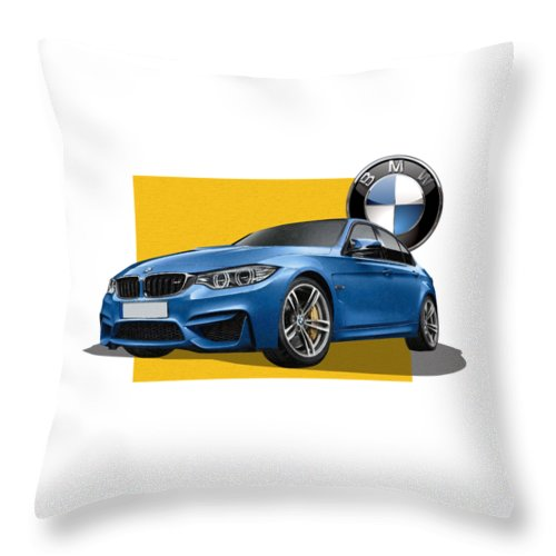 �bmw� Collection By Serge Averbukh Throw Pillow featuring the photograph 2016 B M W M 3 Sedan with 3 D Badge by Serge Averbukh