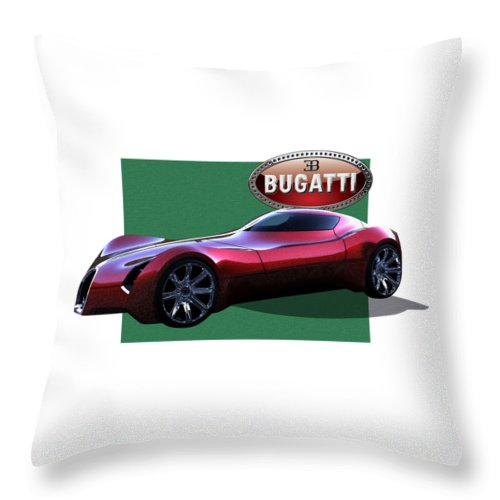�bugatti� By Serge Averbukh Throw Pillow featuring the photograph 2025 Bugatti Aerolithe Concept with 3 D Badge by Serge Averbukh