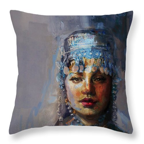 Sindh Throw Pillow featuring the painting 9 Pakistan Folk Khyber Pakhtunkhwac by Mahnoor Shah
