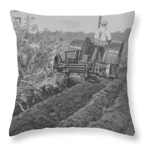 Farm Throw Pillow featuring the photograph A Farmer Driving A Tractor by American School
