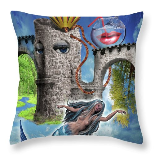 Subrealism Throw Pillow featuring the digital art A few seconds in my head by Veronica Jackson