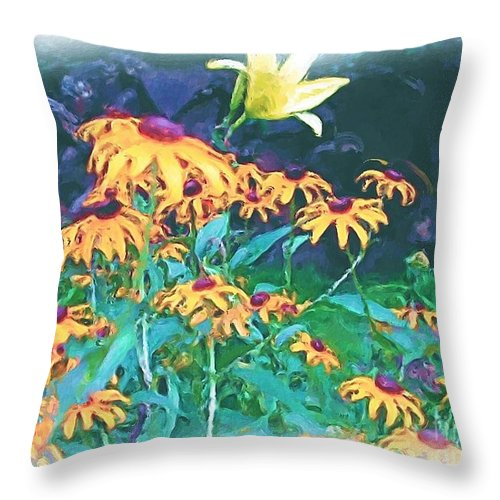 Mixed Media Throw Pillow featuring the painting A Lily In The Field by Patricia Griffin Brett
