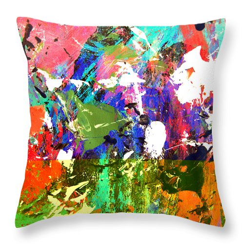 Abstract Throw Pillow featuring the painting A Moment In Time by Charles Yates