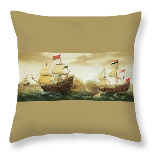 Cornelis Verbeeck Throw Pillow featuring the painting A Naval Encounter Between Dutch And Spanish Warships by Cornelis Verbeeck