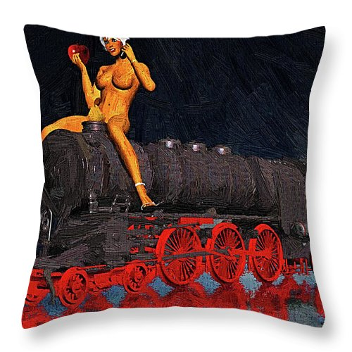 Surrealism Throw Pillow featuring the digital art A Surrealist Lady Chatterley by Silvano Franzi