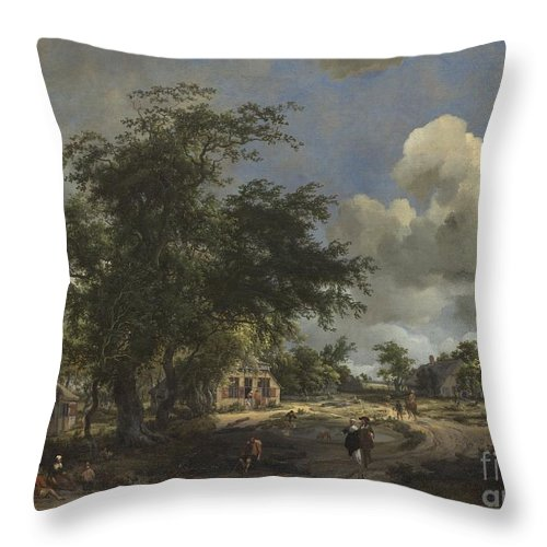 Throw Pillow featuring the painting A View On A High Road by Meindert Hobbema