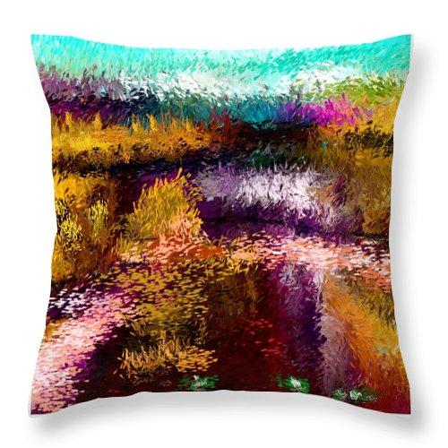 Digital Painting Throw Pillow featuring the digital art Aaw2- Evening At The Pond by David Lane